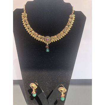 Gold-Plated Cubic Zirconia Pendant Indian Necklace and Earrings Jewelry Set