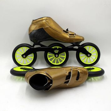 Speedskates STS Skating manual inline speed skating shoes red and green roller skates  speed wheels