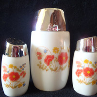 Milk Glass Salt and Pepper Shakers with Sugar Pot and Red Flowers , Vintage serving set