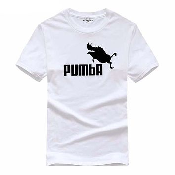 YUANHUIJIA 2016 new brand PUMBA Lion King t-shirt cotton tops tees men short sleeve boy casual homme tshirt t shirt plus fashion