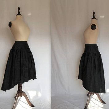 avant-garde black silk skirt