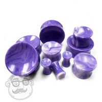 Concave Violet Agate Stone Plugs (8 Gauge - 1 Inch) | UrbanBodyJewelry.com