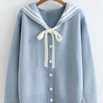 Sailor Collar Varsity Sweater Coat