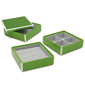 Elle Lacquer Set of 3 Stacking Jewelry Boxes Green