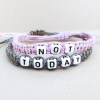 Not Today Bracelet // Pastel Grunge Bracelet // Pastel Goth Bracelets // Kawaii Creepy Cute Soft Grunge 90s Tumblr Punk Friendship Bracelet
