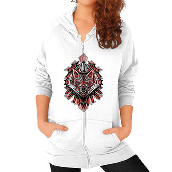 Wolf Tattoo Style Haida Art Zip Hoodie (on woman)