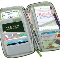Green Travel Wallet with Closure Zip Document Organiser Passport Ticket Holder