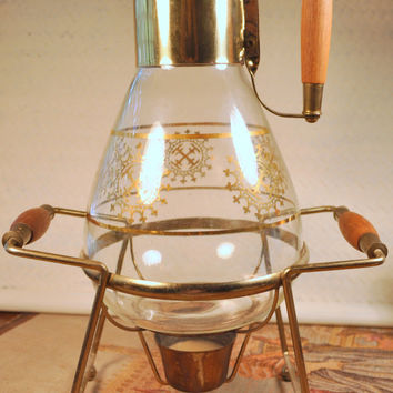 Vintage Glass Coffee or Tea Carafe with Candle Warmer Base
