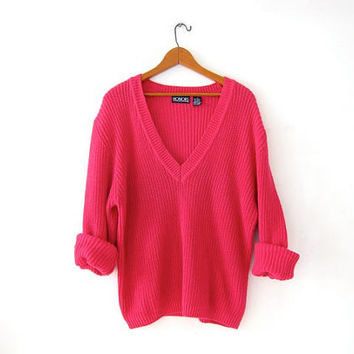 Vintage boxy pink sweater. Loose knit sweater. slouchy vneck sweater.
