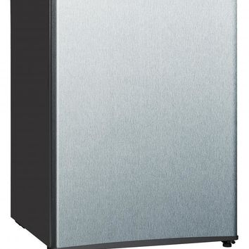 White/Stainless Steel 2.4 CF Compact Single Reversible Door Refrigerator