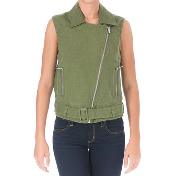 Elizabeth and James Womens Tegan Linen Asymmetrical Casual Vest