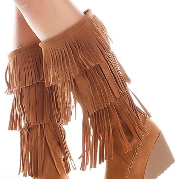 TAN FRINGE MATERIAL SIDE ZIPPER KNEE HIGH WEDGE BOOTS