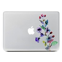 """iCasso Watercolor Flower Removable Vinyl Decal Sticker Skin for Apple Macbook Pro Air Mac 13"""" inch / Unibody 13 Inch Laptop"""