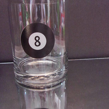 8 Ball Whiskey Glass Old Fashioned Low Ball Cocktail Bar Entertaining Man Cave