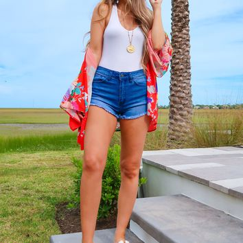 All About Summer Kimono: Red/Multi