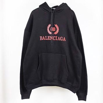 Balenciaga Autumn And Winter High Quality New Fashion Bust Letter Leaf Print Women Men Hooded Long Sleeve Sweater Black