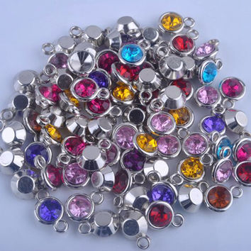 150pcs/lot mixed Birthstone charms 11mm Acrylic for Diy Personalized Necklace and Bracelet Free shipping