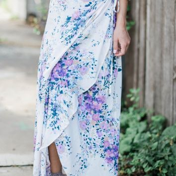 DEAL OF THE DAY- Periwinkle Printed Wrap Skirt
