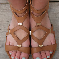 Take It Up A Notch Tan Vegan Leather Flat Gladiator Sandals