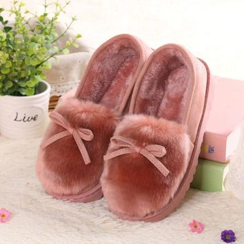 Cute Fur Butterflyknot Slip On Flat Shoes For Women