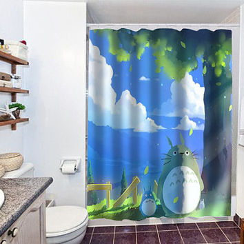 totoro summer special custom shower curtain