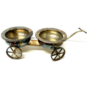 FB Rogers Silver Co., Condiment Serving, Wagon Trolley,  Plant Stand,  Snack Dish, Holiday Decor