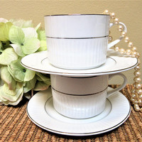 Cup Saucer White Porcelain Silver Trim by Gibson Set of 2 Textured Teacups blm
