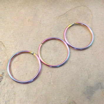Rainbow Cartilage Hoop Septum Tragus Nose Ring Upper Ear Piercing 20 Gauge