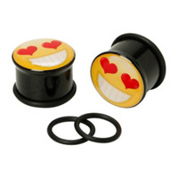 Acrylic Love Emoji Plugs 2 Pack