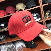 GUCCI tide brand classic men and women fashion hat F-SE7EN-PA Red