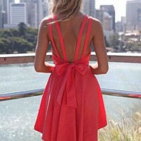 Pink Sleeveless Pleated Dress with Open Bow Back Detail