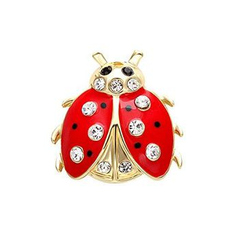 SENFAI Fashion 2 Colors Jewelry Insects Ladybug Crystal Brooches Bouquet Coccinella Septempunctata Lapel Pin