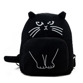 Cat Printed Cartoon Canvas Backpack Bag for Women 8069