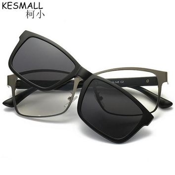 2018 KESMALL Magnet Clip On Sunglasses Men Women HD Polarized Goggles Eyeglasses TR90 Myopia Glasses Frame Lunette UV400 BY265