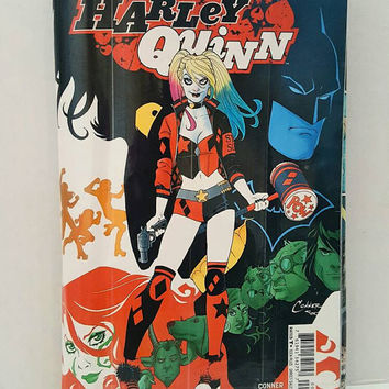 Cool Unique Black Clutch Handbag - Upcycled Harley Quinn Comic Book Purse - Makeup Bag - Geek Gifts