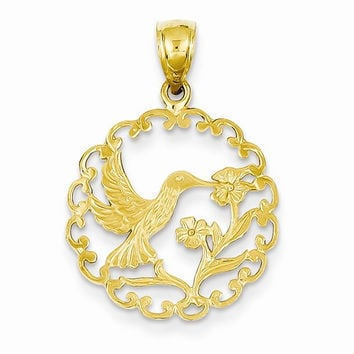 14k Yellow Gold Hummingbird Round Frame Pendant