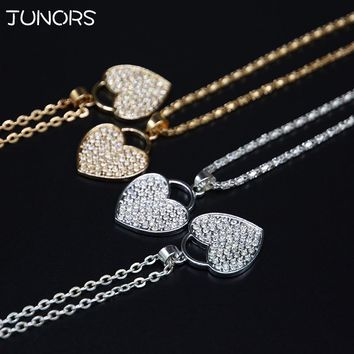 Alloy Micro inlay Crystal Gold Silver Heart Lock Necklace For Women riverdale Lover Pendant collares Jewelry Love For Couples
