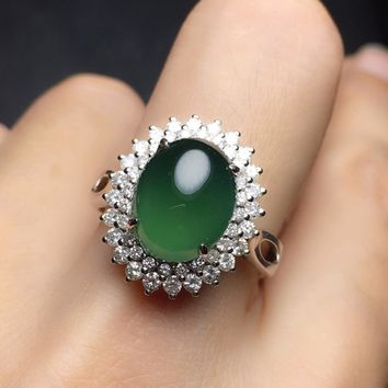 Fine Jewelry Collection Real 18K White Gold AU750 100% Natural Green Jade Gemstone Female Rings Myanmer Origin for Women Gift