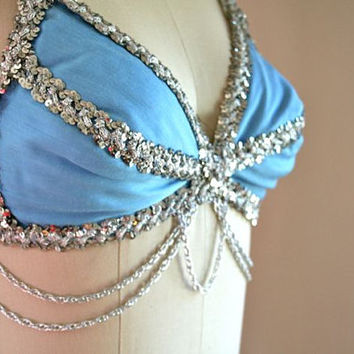 vintage 60s bullet bra - BELLY DANCER blue & silver embellished bra / 32A