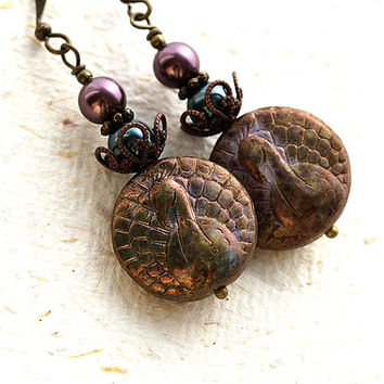 Peacock Earrings, Dark Rustic Earrings, Dark Olive green and Purple, Bohemian Earrings, Peacock Jewelry, Dangle Victorian Earrings