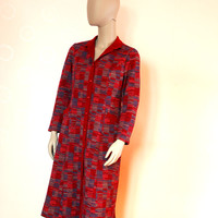 Dark Red Warm Home Dress, Vintage Button Down Dress With Pockets And Collar
