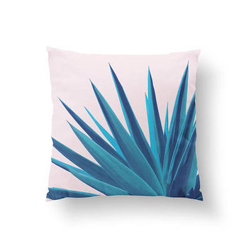 Agave Pink Pillow, Agave Illustration, Mexican Plant, Home Decor, Cushion Cover, Throw Pillow, Watercolor Art, Boho Desert,Decorative Pillow