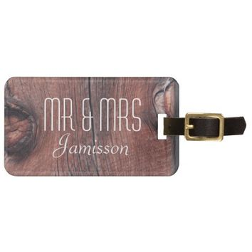 Faux Old Red Barn Siding MR & MRS Custom Luggage Luggage Tag