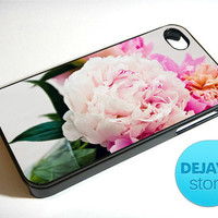 Like Yesterday Pink Peonies Aqua Flower iPhone 4 / 4S Case