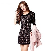 Buy Fascinating Stereoscopic Flower Embellished Collar Lace Slender Dress Black with cheapest price|wholesale-dress.net