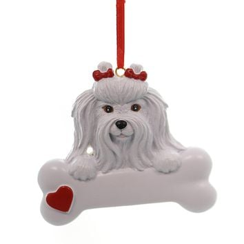 Personalized Ornament MALTESE Polyresin Dog Puppy Playful 554