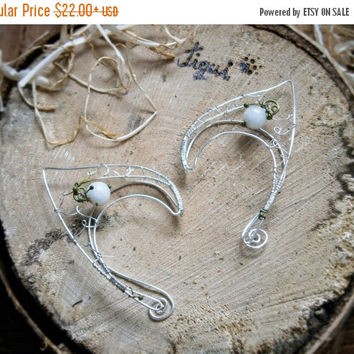 Silver plated earcuffs, elf ear cuffs, elven earcuffs with white jade beads, statement earrings, woodland, vulcan ears,
