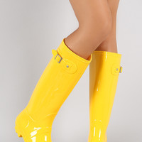 Bamboo Buckled Round Toe Knee High Jelly Rain Boots