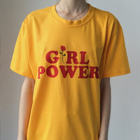 Girl power screen print t-shirt in yellow gold
