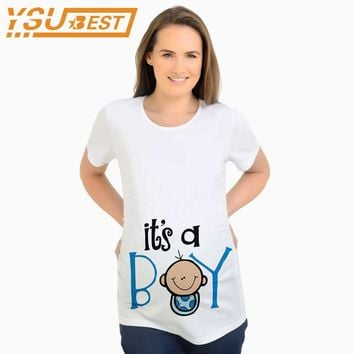 New It's a Boys Summer Women T-shirts Tees Cartoon Maternity Nursing Tops Funny Pregnancy T shirts for Pregnant Women